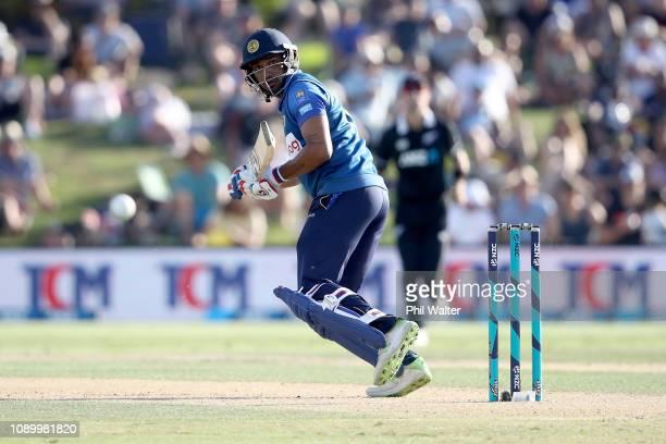 Danushka Gunathilaka of Sri Lanka bats during game two in the One Day International series between New Zealand and Sri Lanka at Bay Oval on January...
