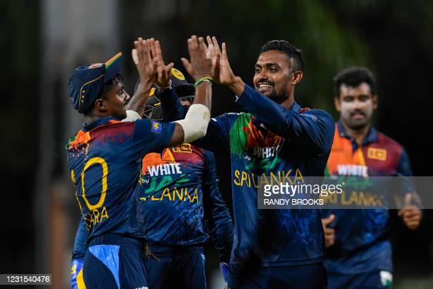 Danushka Gunathilaka of Sri Lanka celebrates the dismissal of Jason Holder of West Indies during the 2nd T20i match between Sri Lanka and West Indies...
