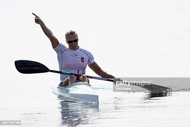 Danuta Kozak of Hungary celebrates after winning gold in the Women's Kayak Single 500m Final at the Lagoa Stadium on Day 13 of the 2016 Rio Olympic...