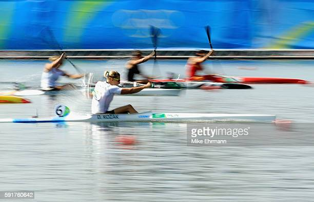Danuta Kozak of Hungary competes during the Women's Kayak Single 500m Final at the Lagoa Stadium on Day 13 of the 2016 Rio Olympic Games on August 18...