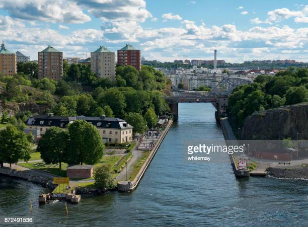danvikkanalen - canal no porto de stockholm - estocolmo - fotografias e filmes do acervo