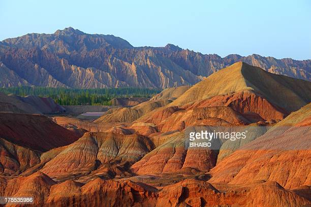 danxia landform in zhangye - east asia stock pictures, royalty-free photos & images