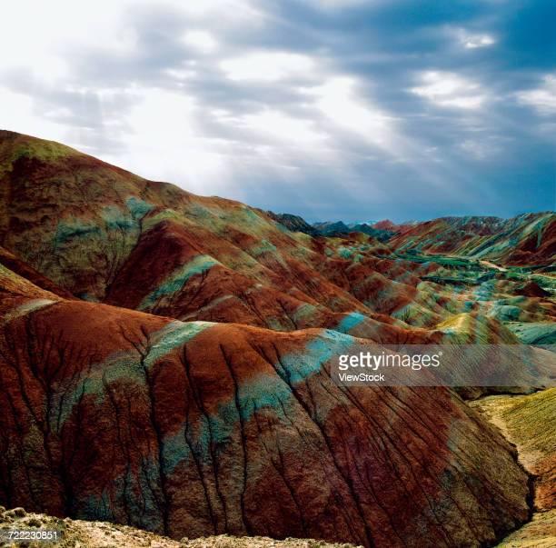 danxia landform in zhangye,gansu province,china - 丹霞地形 ストックフォトと画像