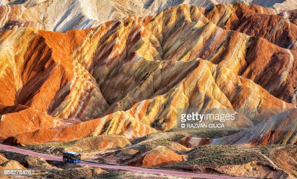 danxia landform - rock formation stock photos and pictures