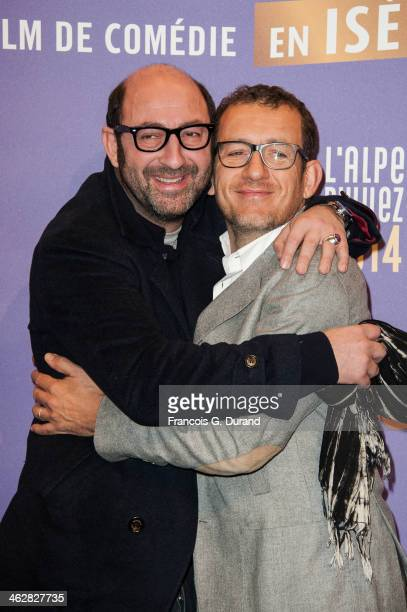 Dany Boon and Kad Merad pose before the opening ceremony of the 17th L'Alpe D'Huez International Comedy Film Festival on January 15 2014 in L'Alpe...