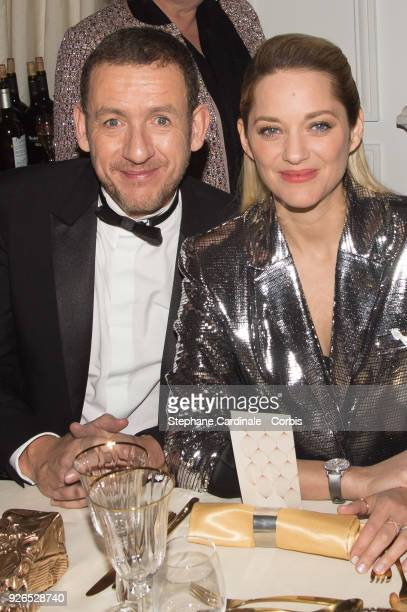 Dany Boon and Marion Cotillard attend the Cesar ceremony dinner at Le Fouquet's on March 2 2018 in Paris France