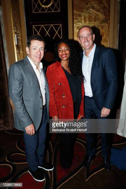 Dany Boon Laura Flessel and Guy Forget attend 'Ryder Cup Dinner' at Fouquet's Barriere on September 24 2018 in Paris France