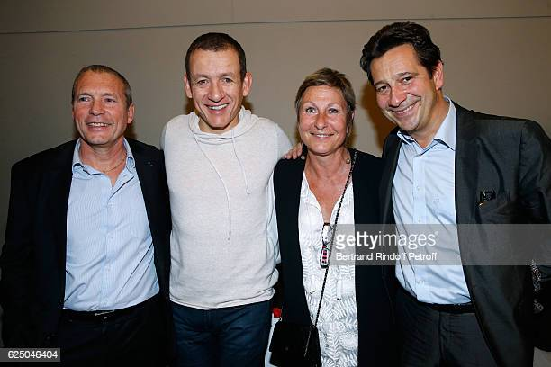 Dany Boon Laurent Gerra Director of the RAID and the FIPN JeanMichel Fauvergue and his wife pose Backstage after the Dany De Boon Des HautsDeFrance...