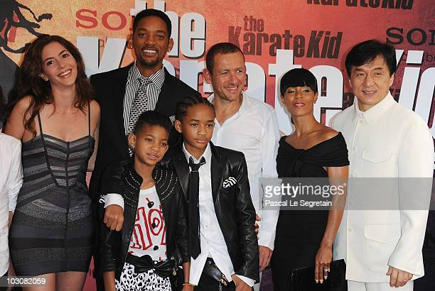 Dany Boon's wife Yaelle Will Smith Jaden Smith Willow Smith Dany Boon Jada Pinkett Smith and Jackie Chan as they attend The Karate Kid film premiere...