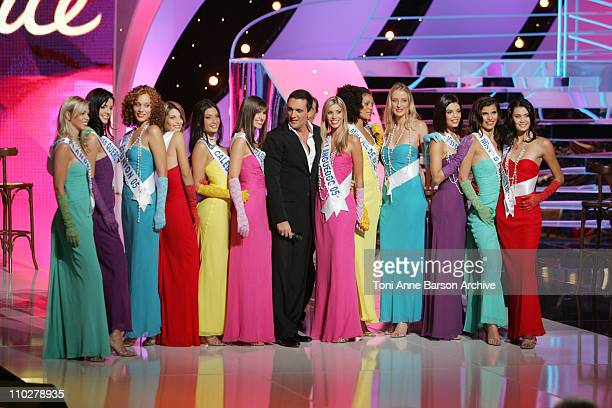 Dany Brillant and Miss France Pageant Contestants during Miss France 2006 Pageant at Palais des Festivals in Cannes France