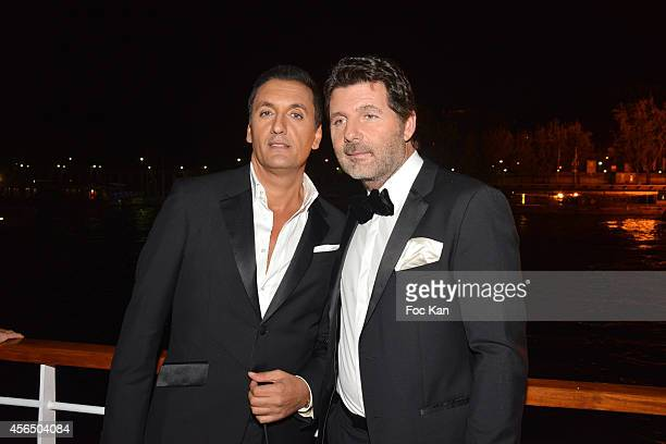 Dany Brillant and Philippe Lellouche attend the 'For Ever Gentlemen 2' CD Launch at Le Paris boat on October 1 2014 in Paris France