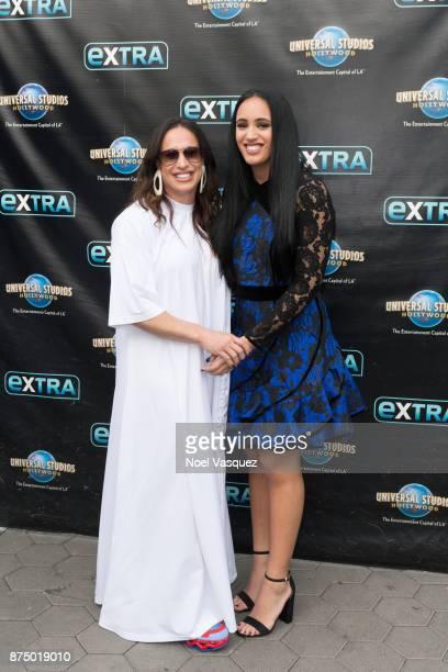 Dany Garcia and Simone Johnson visit 'Extra' at Universal Studios Hollywood on November 16 2017 in Universal City California