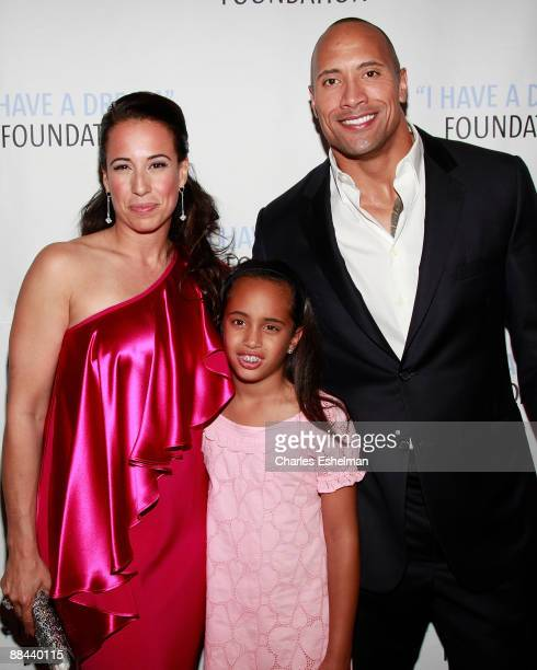 Dany Garcia daughter Simone Alexander and exhusband actor Dwayne 'The Rock' Johnson attend the 2009 I Have A Dream Foundation Spring Gala at 583 Park...