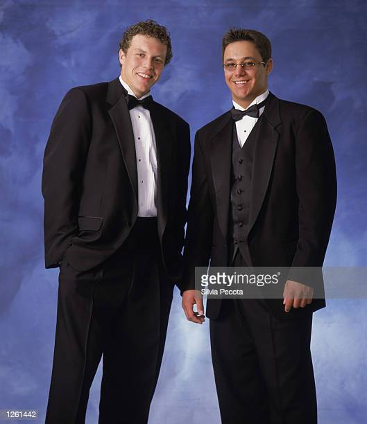 Dany Heatley and Ilya Kovalchuk of the Atlanta Thrashers pose for a studio portrait during the NHL Awards in the John Bassett Theatre at the Metro...
