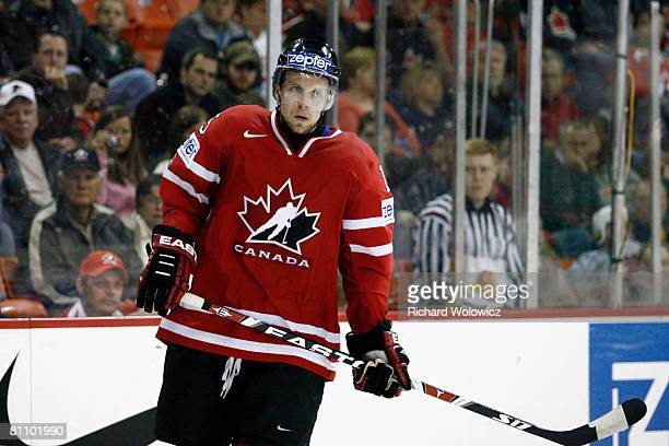 Dany Heatley of Canada skates during a play stoppage during the game against Germany at the IIHF World Ice Hockey Championship qualification round at...
