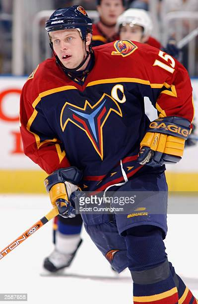 Dany Heatley of the Atlanta Thrashers skates against the Tampa Bay Lightning during the preseason NHL game on September 18 2003 at the Philips Arena...