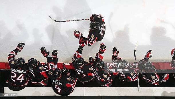 Dany Heatley of the Ottawa Senators celebrates a goal against the Florida Panthers at the players' bench at Scotiabank Place on December 8 2008 in...