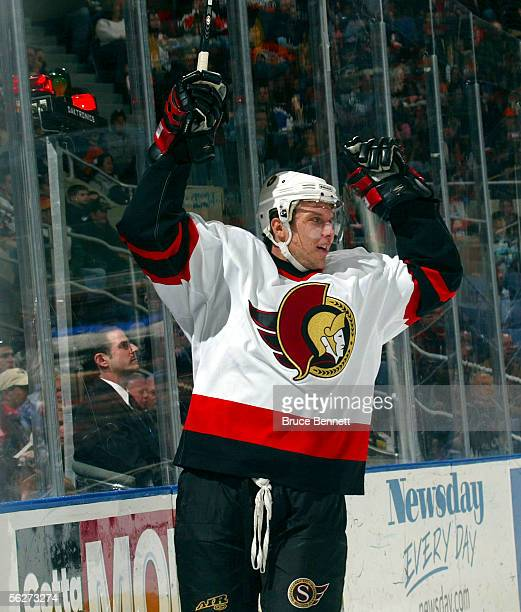 Dany Heatley of the Ottawa Senators celebrates scoring a power play goal at 917 of the first period against the New York Islanders at the Nassau...