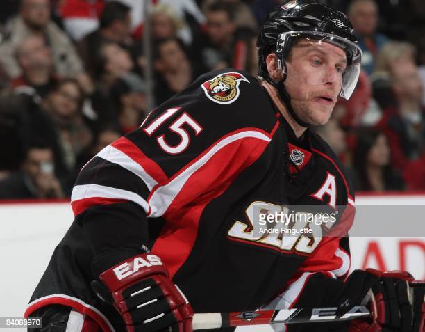 Dany Heatley of the Ottawa Senators skates against the Florida Panthers at Scotiabank Place on December 8 2008 in Ottawa Ontario Canada