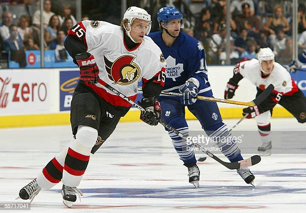 Dany Heatley of the Ottawa Senators skates against the Toronto Maple Leafs during their preseason game at the Air Canada Centre September 18 2005 in...