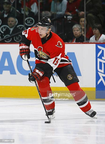 Dany Heatley of the Ottawa Senators skates with the puck during a game against the New York Islanders on December 27, 2006 at the Scotiabank Place in...