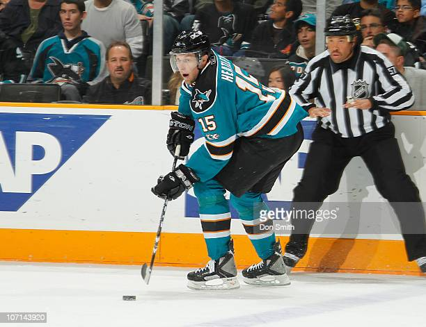 Dany Heatley of the San Jose Sharks carries the puck against the Columbus Blue Jackets during an NHL game on November 20 2010 at HP Pavilion at San...
