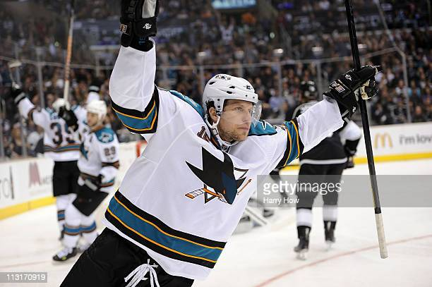 Dany Heatley of the San Jose Sharks celebrates after a goal against the Los Angeles Kings in game six of the Western Conference Quarterfinals during...
