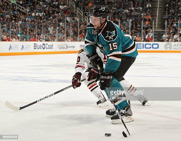 Dany Heatley of the San Jose Sharks looks to pass the puck in Game One of the Western Conference Finals during the 2010 NHL Stanley Cup Playoffs...