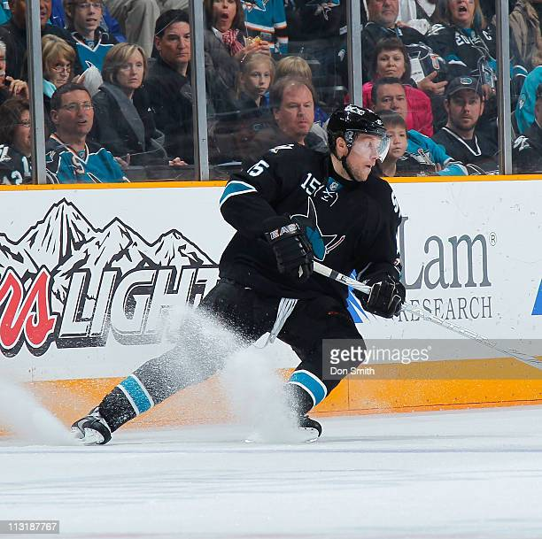Dany Heatley of the San Jose Sharks tries to get in position against the Los Angeles Kings in Game 5 of the Western Conference Quarterfinals during...