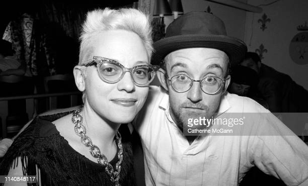Dany Johnson and Keith Haring at a party at Guignol's restaurant in April 1987 in New York City New York