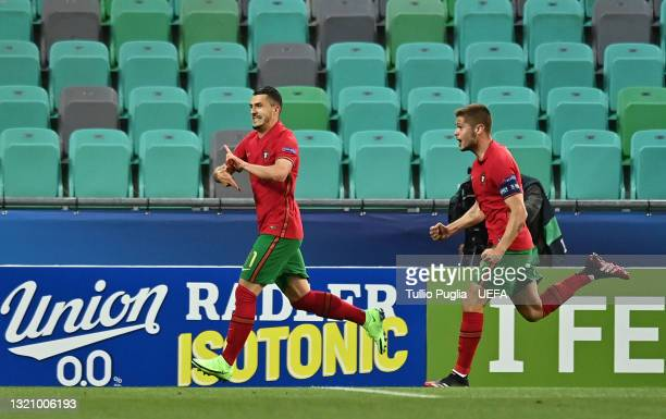 Dany Mota of Portugal celebrates after scoring their side's first goal during the 2021 UEFA European Under-21 Championship Quarter-finals match...
