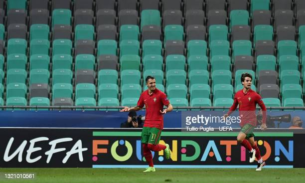 Dany Mota of Portugal celebrates with Daniel Braganca after scoring their side's second goal during the 2021 UEFA European Under-21 Championship...