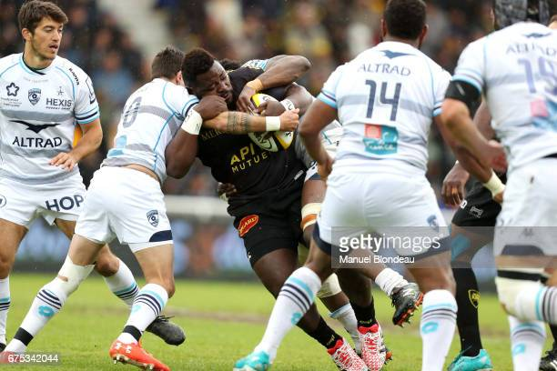Dany Priso Mouangue of La Rochelle during the French Top 14 match between La Rochelle and Montpellier on April 30 2017 in La Rochelle France
