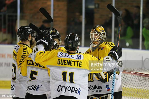 Dany Sabourin of Rouen during the Ice hockey Ligue Magnus Final second game between Les Ducs d'Angers v Les Dragons de Rouen on March 23 2016 in...