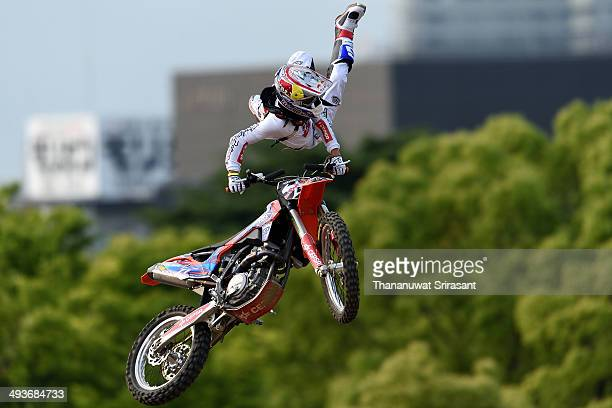 Dany Torres of Spain with KTM SX350 competes during qualifying for the Red Bull XFighters World Tour on May 24 2014 in Osaka Japan