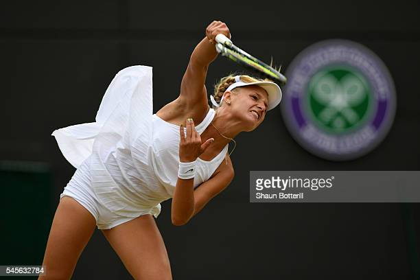 Danya Yastremenska of Ukraine plays a forehand during the Girls Singles Final against Anastasia Potapova of Russia on day twelve of the Wimbledon...