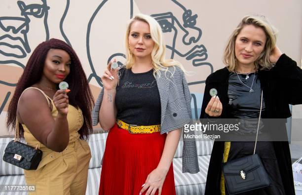 Danyelle Nelson Katie Welch and Kseniya Durst wear custom Jewelry by Jimeye Designs also receive a The Artists Project medallion at TAP visits The...
