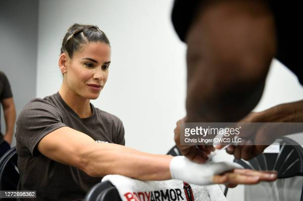 Danyelle Wolf gets her hands wrapped backstage during week seven of Dana White's Contender Series season four at UFC APEX on September 15, 2020 in...