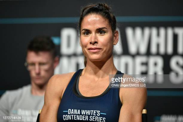 Danyelle Wolf reacts after being awarded a UFC contract during week seven of Dana White's Contender Series season four at UFC APEX on September 15,...