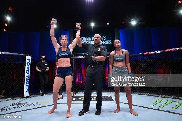 Danyelle Wolf reacts after defeating Taneisha Tennant by unanimous decision in their women's featherweight bout during week seven of Dana White's...