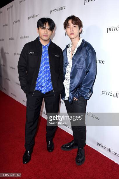 Danyl Geneciran and Baekhyun attend the Privé Alliance LA's Fashion Presentation with KPop Star Baekhyu at Academy LA on February 26 2019 in Los...