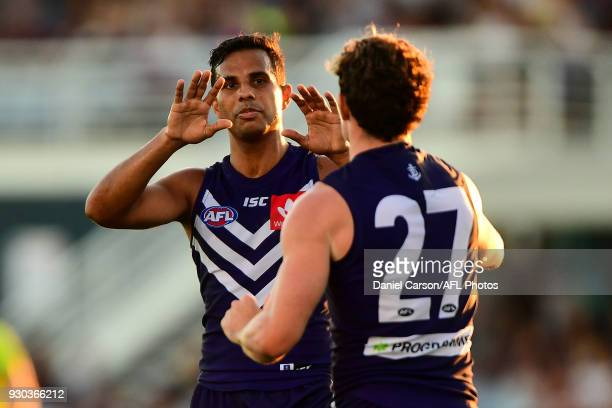 Danyle Pearce and Lachie Neale of the Dockers celebrates a goal during the AFL 2018 JLT Community Series match between the Fremantle Dockers and the...