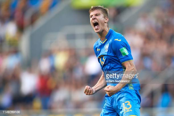 Danylo Beskorovainyi of Ukraine U20 celebrates after winning the 2019 FIFA U20 World Cup Semi Final match between Ukraine and Italy at Gdynia Stadium...