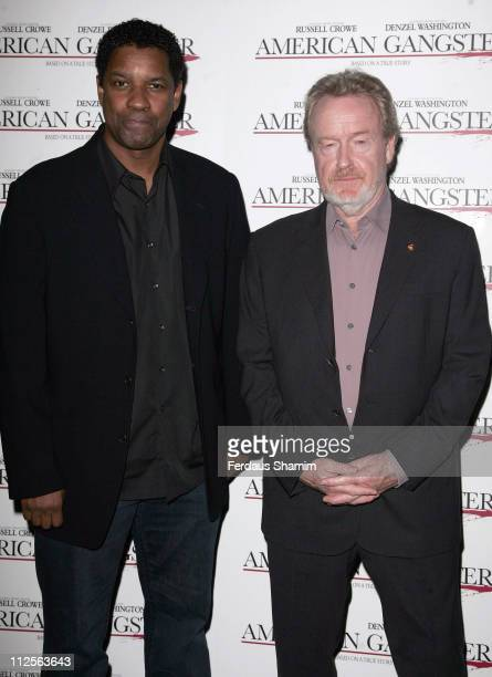Danzel Washington and Ridley Scott attend the Screening of American Gangster at Curzon Mayfair on November 2, 2007 in London, England.