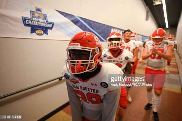 Danzell Sims of the Sam Houston State Bearkats reacts while running onto the field before the game against the South Dakota State Jackrabbits during...