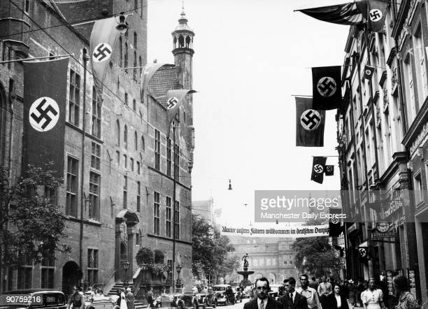 'Danzig Nazis accorded a tremendous welcome to the German naval training ship 'SchleswigHolstein' when she paid a visit to the Free City Herr...