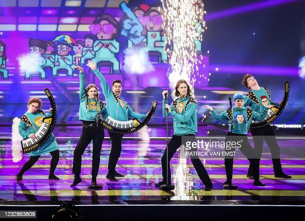 """Daoi & Gagnamagnio from Iceland perform on stage with the song """"10 Years"""" during the second rehearsal of the second semifinal of the Eurovision Song..."""