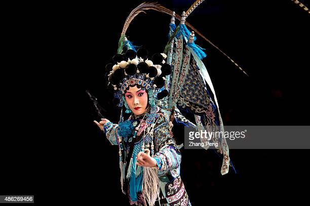 Daomadan performer named Pan Yuejiao acts the role of Yang Qiniang in a popular play based on the women generals of the Yang Family legends in Song...