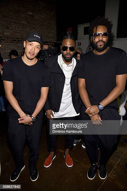 DaoYi Chow Jason Derulo and Maxwell Osborne attends Public School's Women's and Men's Spring 2017 collection at Cedar Lake on June 7 2016 in New York...