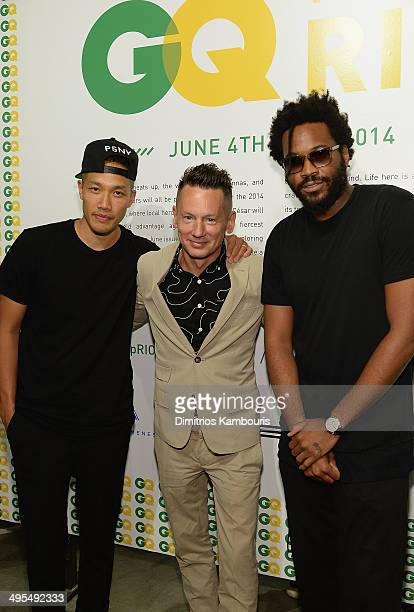 DaoYi Chow Jim Nelson and Maxwell Osborne attend the GQ and Ben Watts Photo Exhibition celebrating the June issue and The World Cup>> at Milk Gallery...